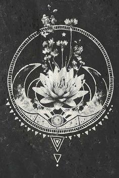• Illustration art boho b&w Grunge patterns eye stars flowers bohemian gypsy Lotus Flower crescent moon yessiecr •