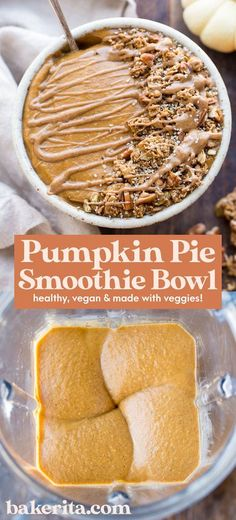 This Pumpkin Pie Smoothie Bowl tastes like a smoothie version of pumpkin pie filling! It�s loaded with veggies for a filling, nutrient-dense breakfast that�s bursting with fall spices. It�s gluten-free, paleo, vegan and Whole30. #whole30 #pumpkinspice