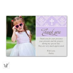 Printable Lavender Damask Baptism Party Thank You Card Notes - Personalized Photo Card 1st Holy Communion Christening Party Favors