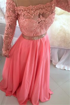 $169-2016 Sheer Illusion Long Sleeves Prom Dresses 2016 Appliques A-Line Evening Gowns