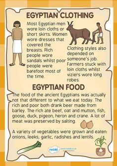 Schule Lernen Unterricht Ancient Egypt- Food and Clothing Factfile Ancient Egypt Ancient Ancient Egypt food clothing Egypt Factfile food lernen Schule Unterricht Ancient Egypt Lessons, Ancient Egypt Activities, Ancient Egypt For Kids, Ancient Egypt Crafts, Ancient Egyptian Clothing, Ancient Egyptian Food, History Lessons For Kids, World History Projects, Egyptian Crafts