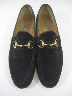 AUTH GUCCI Men's Black Suede Horsebit Rounded Toe Loafers Shoes Sz 45.5 11.5 @ www.ShopLindasStuff.com