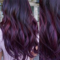 15 Best Maroon Hair Color Ideas of 2019 - Dark, Black & Ombre Colors Radiant Plum Hair Color White Blonde Hair, Brown Ombre Hair, Ombre Hair Color, Hair Color Balayage, Cool Hair Color, Black Ombre, Dark Plum Hair Color, Black Hair, Violet Hair