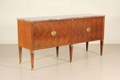 Sideboard Rosewood veneer Marble Brass Vintage Manufactured in Italy 1950s in Antiques, Antique Furniture, Sideboards, 20th Century | eBay
