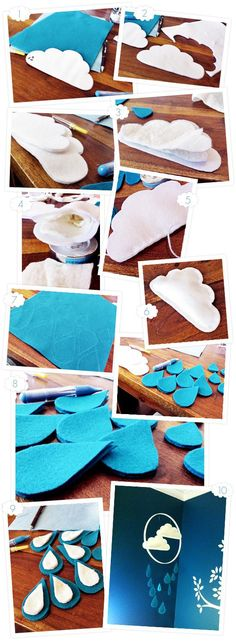 Desiree Nechacov Colborn Mikaela DIY cloud mobile tutorial - I think maybe you should try fishing line and stuff your raindrops and clouds and you may be a little happier with the end result? Cloud Mobile, Baby Mobile, Baby Crafts, Felt Crafts, Diy And Crafts, Craft Projects, Sewing Projects, Diy Bebe, Cute Diys