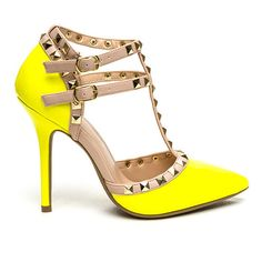 Rock Out Studded Faux Patent Heels LEMONYELLOW ($26) ❤ liked on Polyvore featuring shoes, pumps, high heels stilettos, dorsay pump, heels stilettos, studded pointed toe pumps and high heel pumps