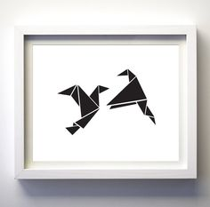Black and White Origami Birds Printable Love by FancyDigitals