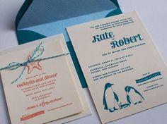 Kate + Rob's Sea Creature Letterpress Wedding Invitations