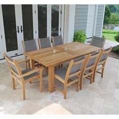 The Kingsley Bate Hyannis Rectangular Extension Dining Table is a stunning solid teak extension dining table with self-storing butterfly extensions th Outdoor Wood Table, Teak Table, Outdoor Dining Set, Outdoor Living, Outdoor Decor, Dining Sets, Patio Dining, How To Clean Furniture, Outdoor Garden Furniture