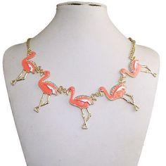 Five Bird Flamingo Necklace  Austrian Crystal Pink Enamel Gold Tone Chain: