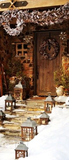 entrata neve natale legno