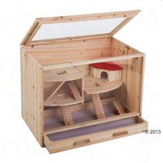 Houten Hamsterkooi Huis  - L 80 x T 50 x H 60 cm