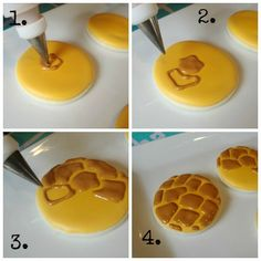 Making Giraffe Print Cookies - for a jungle themed party - also links to cheetah and zebra prints