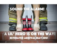 """""""My husband and I are expecting our first child this coming August! My husband is a firefighter so what better way to share the news with our family and friends than announcing our lil' hero on the way. We are more than excited! Firefighter Pregnancy Announcement, Pregnancy Announcement To Husband, Firefighter Baby, Birth Announcement Girl, Baby Announcements, Firefighter Training, First Pregnancy, Pregnancy Photos, Maternity Pictures"""
