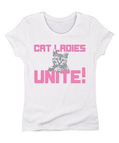 This White 'Cat Ladies Unite' Tee is perfect! #zulilyfinds