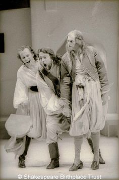 Twelfth Night photo, from the 1987 Royal Shakespeare Company production -- Jim Hooper as Fabian, Roger Allam as a rather svelte Sir Toby, and David Bradley as the dimwitted Sir Andrew Aguecheek.