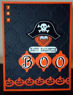 Mosaic Madness Stampin Up Halloween Card Boo! made with mosaic madness embossing folder, punch and stamp set and some bling ~