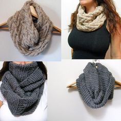 Digital PDF Knitting Pattern - Oversized Cowl Infinity Scarf & Cable Cowl Infinity Scarf Knitting Pattern