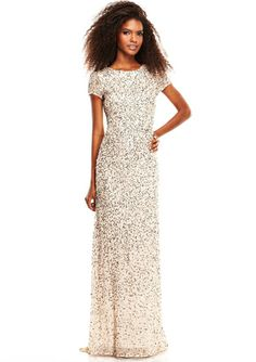 Still pushing for a black tie engagement party... ADRIANNA PAPELL Mesh Gown With Short Sleeves and Sequined Details $149.99
