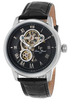 Lucien Piccard Watches Optima Auto Black Genuine Leather and Dial SS Case 12524-01,    #LucienPiccard,    #1252401,    #Dress
