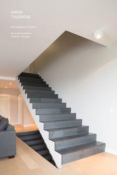 black slate stair modern design minimalistic interior design czarne schody www.annathurow.pl