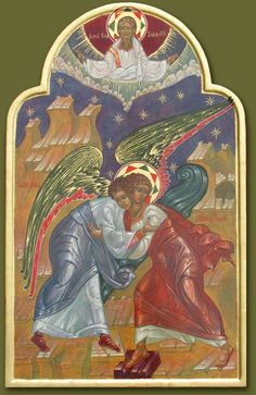 God the Father at the top of an icon showing Jacob wrestling with the angel.