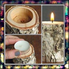DIY birch wood candle holder.Following #diy #decor