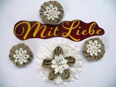 4x Shabby Blume Blüte Hippie Vintage Nostalgie Spitze Perle Landhaus Handarbeit