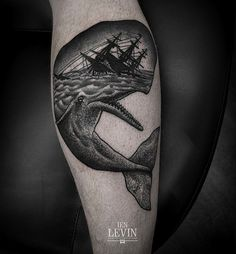 Incredible whale and ship tattoo, by Ien Levin