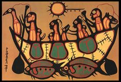 ( Migration – The Great Flood by Norval Morrisseau, Canadian Ojibwa artist) The past is a different country. Native Canadian, Canadian Artists, Native American Fashion, Native American Art, Woodlands School, Woodland Art, Indigenous Art, Dream Art, Native Art