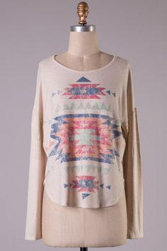 Long sleeve Aztec print comfortable fit top