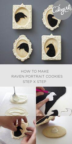 Gothic raven portrait cookies....to make Edgar Allan Poe proud | Cakegirls Step x Step