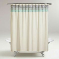 Featuring An Embroidered Indian Inspired Ombre Design, Our Shower Curtain  Boasts Oceanic Tonal Blues That Gradually Go From Dark To Light Blue On An  Ivory ...