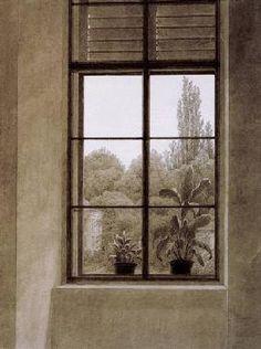 Caspar David Friedrich - Fenster mit Parkpartie