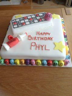 Bingo cake Man Birthday, Happy Birthday, Bingo Cake, Cake Stuff, Retirement Parties, Dee Dee, Food Cakes, Cookie Bars, Themed Cakes