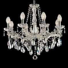 Features:  -Eight light chandelier.  -Socket: On/off.  Product Type: -Crystal chandelier.  Finish: -Polished Chrome.  Number of Lights: -8.  Wattage: -40 Watts.  Bulb Type: -Incandescent.  Material: -