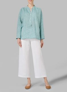 MISSY Clothing - Linen Dropped Shoulder Long Sleeve Blouse