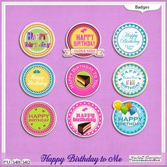 Happy Birthday to Me Badges #JulieCDesigns #thestudio #digitalscrapbooking