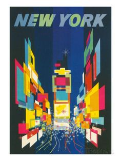 Travel Poster, New York City Impressão artística