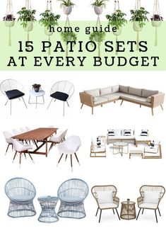 15 Patio Furniture Sets At Every Budget | The best patio furniture sets!  Boho patio furniture on a budget, minimal patio furniture cheap, glam  patio furniture, rattan patio furniture. The best porch furniture cheap!