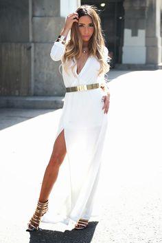 3db2961fec7 White Slit Jersey Maxi (via Marie De La Cruz of Haute and Rebellious) Gold  Plate - 2014 Style Trend