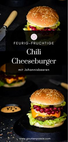 Chili cheeseburger with currants - palate poetry - Kochen Rinder Steak, Cheeseburger, Chili, World Recipes, Taste Buds, Barbecue, Hamburger, Cheddar, Bread