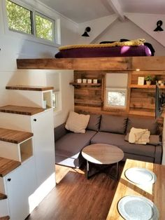 Your Adventure Awaits Tiny House Bedroom, Shed To Tiny House, Best Tiny House, Tiny House Cabin, Tiny House Living, Tiny House Plans, House Rooms, Home Bedroom, Tiny Houses