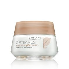 Oriflame Optimals Even Out Night Cream (25207) - Rich, nourishing night cream that helps to reduce dark spots while your skin rests, complementing the action of your Even Out day cream. Contains patented antioxidant Lingon 50:50™ technology, and enriched with Rumex active for an even skin complexion. 50 ml.