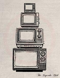 Clip Art Designs Transfer Digital File Vintage Download DIY Shabby Chic Old TV Television Retro No. 0166
