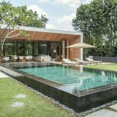Like everything around us, the concept of the swimming pool design too is undergoing major changes. From being a rectangular pool of water it has evolved into a style statement. A swimming pool in the house is an extension of… Continue Reading → Backyard Pool Designs, Small Backyard Pools, Swimming Pools Backyard, Swimming Pool Designs, Pool Landscaping, Small Pools, Outdoor Pool, Luxury Swimming Pools, Luxury Pools