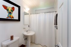 The hall bath has a clean look with fine baseboard and crown molding adding some class.
