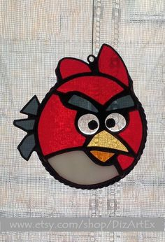 Angry Birds For Fans. #Pendant Of Stained Glass. Handmade. DizArtEx.  Type: Stained #Glass (Pendant); Motive: Sunatcher; Size: 12,0x11,0 sm, 9,5 sm (diameter);  DizArtE... #stainedglass #handmade #decor #artglass #dizartex #glass #suncatcher #red #suncatcher #pendant #tiffany #game