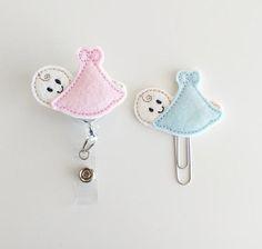 Baby Boy or Baby Girl Badge Reel | ID Badge | Neonatal Badge | Felt Nurse Badge | Medical Badge Holder | Medical Lanyard | Bookmark | L&D