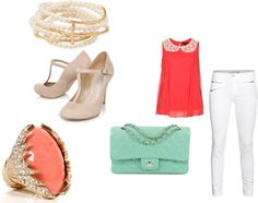 """coral and turquoise :)"" by dreamer-dx on Polyvore"